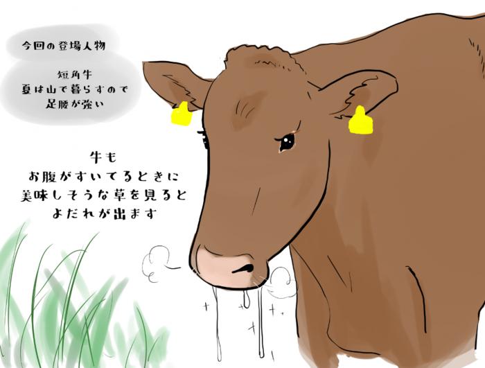 牛もお腹がすいてるときに美味しそうな草を見るとよだれがでます